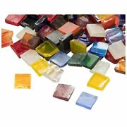 1000 Pack Glass Mosaic Pieces For Decoration Square 40 Colors 0.4x0.4x0.1