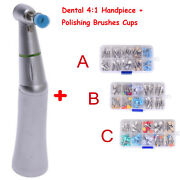 Dental 41 Contra Angle Slow Low Speed Handpiece W 100pcs Polishing Brushes Cups