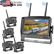 Wireless Quad Split 7and039and039 Monitor Four Backup Ir Camera Waterproof Kits For Truck
