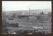 Real Photo Elroy Wisconsin Railroad Station Roundhouse Postcard Copy