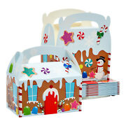 24 Pack Cardboard Treat Boxes W/ Gingerbread House For Christmas Party And Event