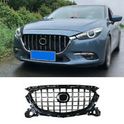 For Mazda 3 Axela 2017-19 Black Chrome Front Center Mesh Grille Grill Cover Trim