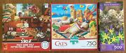 Lot Of 3 Jigsaw Puzzles Cats Buffalo 750 And Paws Gone Wild Ceaco 550 + Bonus 500