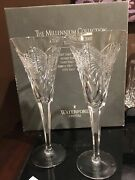 """Waterford Crystal Millennium Collection Happiness 2 Toasting 9"""" Flutes In Box"""