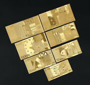 Lot 70 Pcs Gold Euro Banknote Paper Money Beautiful Crafts Collection Gift Game