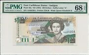 Central Bank East Caribbean States 100 Nd1993 Prefix And Suffix A Pmg 68epq