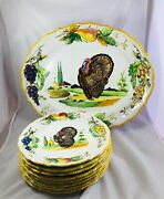 Vintage Italy Thanksgiving Turkey Hand Painted Xl Serving Platter And Plates Set