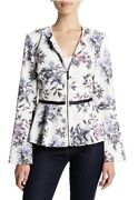 Bagatelle Womens Zip Up Jacket Size S White Floral Peplum Waist Faux Leather A8