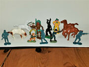 Lot Vintage 2.5 Cowboy Indian Horse Figures Marx Lido Britains Ajax 60and039s-70and039s