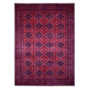 8'1x11'2 Afghan Khamyab Deep Red Hand Knotted Pliable Wool Rug R67861