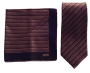 390 Brioni Tie And Pocket Square Matching Set Silk Italy Auth 76006 Handmade