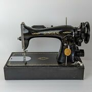 Singer Sewing Machine Vintage15-91 Sew Heavy Duty Foot Pedal Table 1940s 1950s