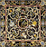 48 Black Side Marble Dining Table Top Inlay Mosaic Floral Kitchen Decor B861b
