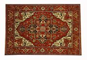 New Imported Antique Look Handmade Rust And Red Color 10 X14 Rug-1324