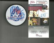 Mike Eruzione Signed And Inscribed 1980 Gold Miracle On Ice Usa Puck Jsa Coa