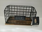Rae Dunn Letters Holder Farmhouse Kitchen Black Wire Wood New