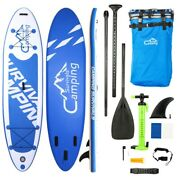 Ks-sp1009 10' Adult Inflatable Sup Stand Up Paddle Board White Blue Surf Control