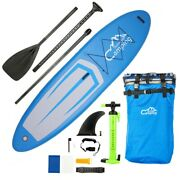 Adult Inflatable Sup Stand Up Paddle Board Blue And Gray And Black Surfing Surfboard