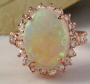 6.80 Carats Natural Australian Opal And Diamond 14k Solid Rose Gold Ring