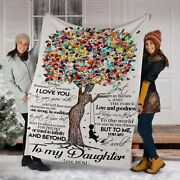 To My Daughter Fleece Sherpa Blanket Mother Tree Gift From Mom Birthday Gift...