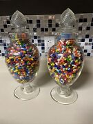 Vintage Dakota Apothecary Glass Candy Jar Lid Rx Aesthetic Colorful Faux Pills