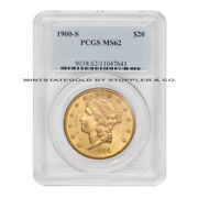 1900-s 20 Gold Liberty Pcgs Ms62 Choice Graded San Francisco Double Eagle Coin