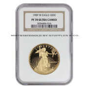 1989-w 50 Eagle Ngc Pf70ucam 1 Oz American Gold Ultra Cameo Proof Coin 22-kt
