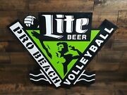 Miller Lite Beer Pro Beach Volleyball Tin Sign 36 X 30 Pre-owned Free Shipping