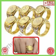 Stainless Steel Rings For Men Army Badge Us Navy Marines Air Forces Police New