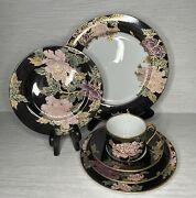 1979 Fitz And Floyd Cloisonne Peony Black Gold Rim 6 Pc Place Setting Very Nice