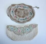 2 Victorian Purses Seed Pearls Beads Embroidered Belgium Antique Hand Clutch Bag
