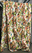Vintage Heavy Pinch Pleated Custom Couture Paisley Drapes Curtains 2 Panels