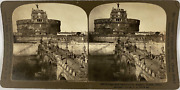 White, Stéréo, Italy, Rome, Bridge And Castle St Angelo Vintage Stereo Card,
