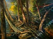 Round Lake Morning Light, Green Lakes State Park 36x48 In. Hall Groat Sr.
