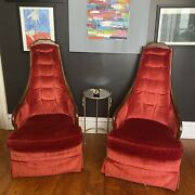 Antique /vintage Drexel Red Velvet Gothic Looking Chairs .