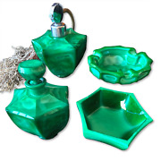 Art Deco Collection Of Emerald Green Bohemian Malachite Glass Containers Perfume