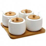 Elama Ceramic Spice Jam And Salsa Jars With Bamboo Lids And Serving Spoons