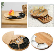 Unique Bamboo Cheese Board Platter And Knife Set Serving Tray For Wine Brie