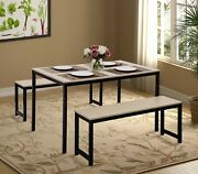 3 Piece Dining Set With Two Benches Modern Dining Room Furniture Solid Durable
