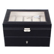 Black 20 Slot Grid Large Watch Collection Box Leather Display Case Storage