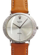 Authentic Rolex Geneve Cellini Watch Silver Dial Hand Wind White Gold X786598316