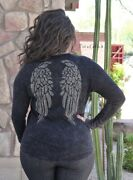 New Vocal Womens Plus Size Crystal Black Angel Wings Cotton Shirt 1x 2x 3x Usa