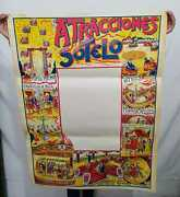 Very Nice Old 30s Circus / Amusement Park Cartel With Original Tickets,
