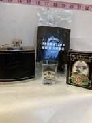 Jack Daniels Old No 7 Leather Stainless Flask W Shot Glass, Paying Cards, Koozie