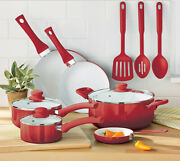 Non Stick Cookware Set Ceramic Coating Red 12 Pieces Pots Pans Cooking Kitchen