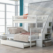 Twin Over Full Stairway Bunk Bed With Trundle Stairs Mdf Bedroom Furniture Home