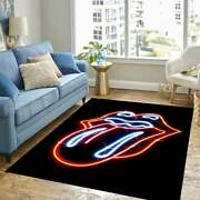 The Rolling Stones Neon Stone Rug Home Carpet American Housewarming Gifts