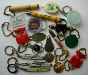 Vintage Plastic Metal Knifekeychain Collection All With Advertising