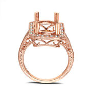 Pave Diamonds Womenand039s Semi Mount Ring 18k Rose Gold Oval 14x10mm Vintage Antique