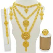1 Set Dubai Fashion Necklace And Earring 24k Gold Plated Women Jewelery Ladies Wed